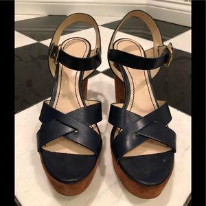 Navy/Cognac Pour La Victoire platform sandals